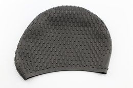 Hair Swimming NZ - Black Waterdrop Silicon Swimming Hat Cover Protect Ear Swimming Caps for Long Hair