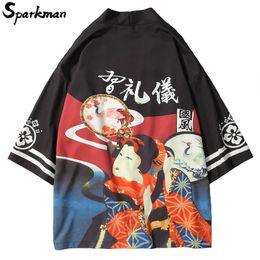 Discount japanese man s kimono - Japanese Ukiyo Print Kimono Jackets 2018 Summer Autumn Thin Short Gown Mens Harajuku Japan Style Casual Streetwear Jacke
