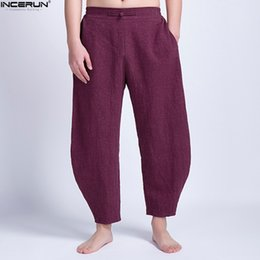 Black Summer Baggy Trousers NZ - INCERUN Summer Cotton Men Wide Legs Pants Baggy Trousers Loose Fitness Ankle-Length HipHop Joggers Chinese Style Plus Size 5XL