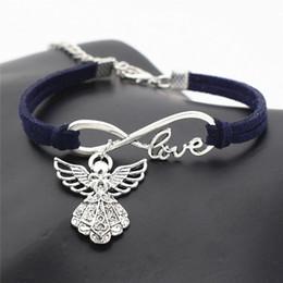 $enCountryForm.capitalKeyWord Australia - Bohemian Infinity Love Guardian Angel Wing Pendant Charm Bracelets For Women Men Navy Blue Leather Suede Rope Jewelry Gifts 2019 New Vintage
