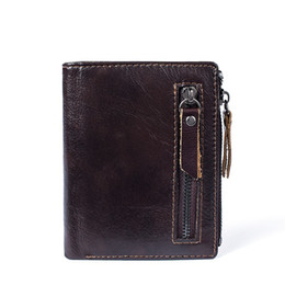 handmade leather coin purse wholesale NZ - Fashion RFID Blocking Men Wallets Cow Genuine Leather Wallet Male Handmade Custom Dollar Price Coin Purse Short Wallet carteira