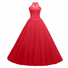 09fb0176fe7 2018 New Red Royal Blue Quinceanera Dresses Ball Gown Crystals Pearls  Ruffles Tulle Lace Up Back Pageant Gowns For Girls Q45