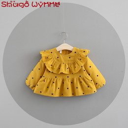 Wholesale Baby Girls Cotton Long Sleeve Ruffles Polka Dot Print Princess Party Tutu Kids Pleated Cute Dress Infant Clothes vestido infanti