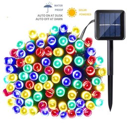Discount red light face lamps - 12m 22m LED Solar Lamp LED String Fairy Lights Garland Christmas Solar Light for Outdoor Wedding Garden Party Decoration
