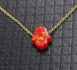 Black Hand Pendant Australia - New Gold Fatima Hand stainless steel golden Chain Necklace faux opal Pendant Necklace Collar joyeria collier Women