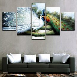 $enCountryForm.capitalKeyWord NZ - Canvas Wall Artwork Pictures Frame 5 Pieces Anime Peacock Couple Painting Abstract Poster Living Room HD Prints Home Decoration