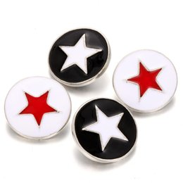 star snap buttons jewelry 2019 - 10Pcs New Button Jewelry Five Stars Round Metal Snap Buttons Fit 18mm 20mm Snap Button Bracelet Bangle Button Charms Jew
