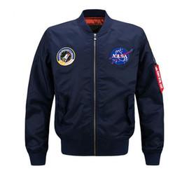 Discount military motorcycle jackets - 6XL NASA Bomber Jacket Men 2017 Ma-1 Flight Jacket Pilot Air Force Male Ma1 Army Green Military motorcycle Jackets Coats