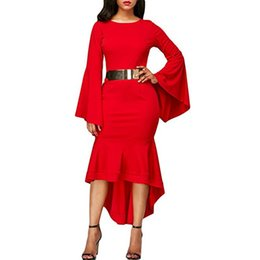 dresses states UK - Women dress horn sleeve sleeve skirt dress europe and the united states dress