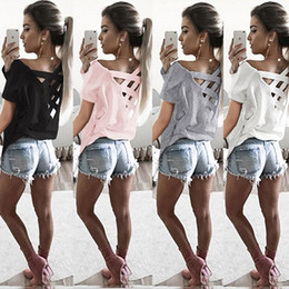 New Summer Women Sexy Backless T-shirts Pure Color Back Strap Pullovers Shirts Tee Sexy tee Top