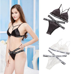 Wholesale Women Bra Set Push Up Bra Brief Sets Sexy Beach Female Adjustable Shoulder Strap Underwear Deep V Lingerie Set T6
