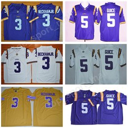 NCAA Men LSU Tigers College Jerseys Football 3 Odell Beckham Jr 5 Derrius  Guice 7 Leonard Fournette 7 Mathieu Stitched Purple Yellow White bba6dbba9