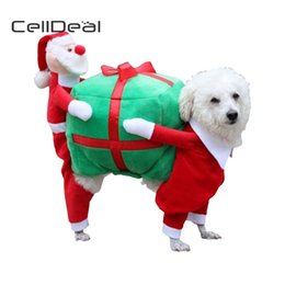 Discount dog christmas presents - wholesale CellDeal Funny Pet Dog Carry a Christmas present Rodeo Cowboy Costume Halloween Christmas Party Clothing Cloth
