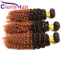 blonde mongolian curly hair 2019 - Dark Root 1B 30 Human Hair Bundles Brazilian Virgin Kinky Curly Ombre Weave Two Tone Blonde Ombre Hair Extensions Afro K