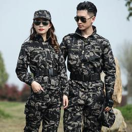 Discount camouflage combat suit - Men's Tactical Jacket Sets Uniform Outdoor Camouflage Hunting Suit Army Combat Suit Men Sports Hiking Training Sets