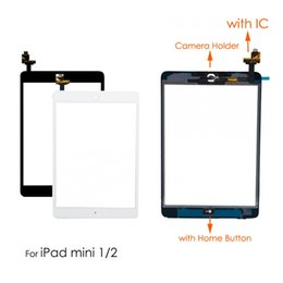 Camera Ic Chip Australia - For iPad Mini 1 Mini 2 LCD Outer Touch Screen Digitizer Sensor With IC Chip Connector+Home Button + Camera Holder