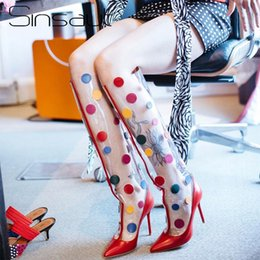 over knee pvc boots NZ - Sinsaut Shoes Women Transparent Boots Spring Autumn High Heel Perspex Waterproof Shoes Clear PVC with Dot Over the Knee Boots