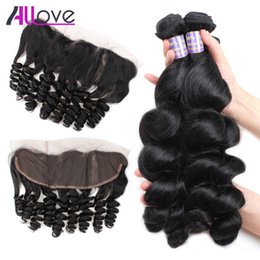 cheap curly brazilian human hair 2019 - Allove 8A Peruvian Loose Wave 3pcs with Frontal Closure Indian Virgin Hair Cheap Brazilian Human Hair Extension Malaysia