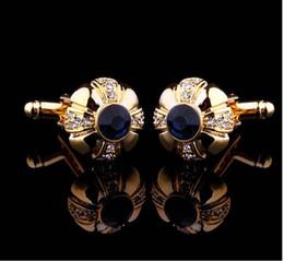 Czech Crystal Sets Australia - Wholesale - High quality classic French shirt cufflinks crystal Czech diamond umbrella gold sleeve cuffs Cufflinks for gift and decor