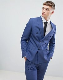 Skinny Fitted Suits NZ - Latest Design Fashion Double Breasted Skinny Men Suits Slim Fit Bussiness Wedding Party Jacket Pants Set