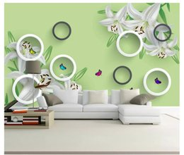 live wallpaper lily 2019 - Wholesale-3D photo wallpaper custom 3d wall murals Waterfall Beautiful lily garden style 3D circle TV background wallpap