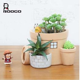 roogo original dos desenhos animados casa forma animal bonsai potted vaso de flores resina plantadores criativos venda por atacado