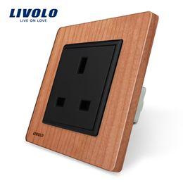 Outlet wOOd online shopping - Livolo EU Standard UK Socket Cherry Wood AC V A Wall Outlet VL C7C1UK