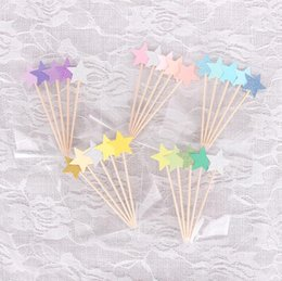 Child Models Stockings NZ - Cupcake Toppers Golden Star Paper Cake Toppers Children Favors Decorations For Wedding Baby Shower Cake Tools CCA10081 300pcs