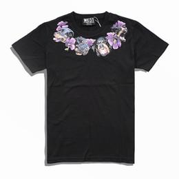 T Shirt Necklace UK - 2018 new fashion brand high-end men Casual neckline Dog necklace purple Flowers printing T-Shirts men cotton round neck short sleeve t shirt