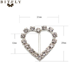 Wholesale eart rate monitor pink Buckle Clear Rhinestone Buckles Ribbon Slider Diamond Round Heart Shape Diamante Wedding Invitation Ca