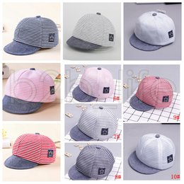 Baby Hats Summer Cotton Casual Striped Eaves Baseball Cap Boy Girls Sun Hat  10 Styles Cloth Styles and Mesh Net Styles AAA642 f87022df4f4
