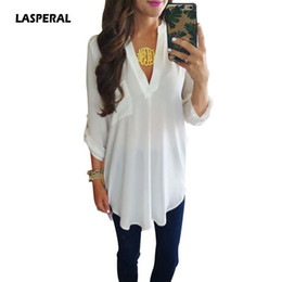 Sexy Army Shirts Australia - LASPERAL 2018 Spring Summer Women Shirt Casual Loose Long Sleeve Sexy V neck Blouse Office Lady Shirts Blusa Tops Plus Size 5XL