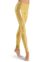 China LZCMsosft Mid Waist Womens Spandex Shiny Metallic Gold Dance Leggings Stage Performance Costume Pants Skinny Pencil Trousers supplier gold stage pants suppliers