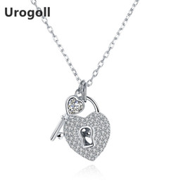 925 Lock Pendant NZ - Sterling Silver Jewelry 925 Silver Heart Lock & Key Pendant Necklaces Trenty Jewelry Chokers Necklaces For Women Fine