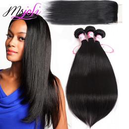 $enCountryForm.capitalKeyWord NZ - Brazilian Straight Human Hair Bundles with Closure 100% Unprocessed Virgin Hair 3 Bundles with Lace Closure Natural Color Hair Extensions