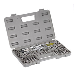 Thread Tapping Tools Canada - 40pcs High Speed Steel Tap dies Set Metric Taps Dies DIY kit screw tap Holder Thread Gauge Wrench Threading hand Tools + Case
