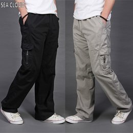 Discount thin cotton trousers - 82 Free shipping Summer thin loose casual trousers male plus size long trousers 100% cotton straight pants overalls L-6X