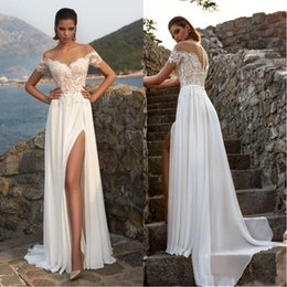 wedding dresses thigh high slits 2019 - 2019 Summer Bohemian Chiffon Wedding Dresses Cheap Sheer Crew Neck Lace Appliques High Split Hollow Back Boho Beach Long
