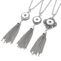 $enCountryForm.capitalKeyWord UK - Noosa Snap Jewelry Long Tassel Necklace Vintage Metal Snap Button Pendant Necklace fit 18mm Snap Buttons Jewelry