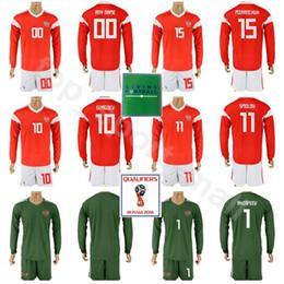 16bcebb7812 2018 World Cup Long Sleeve Russia Jersey Set Men Soccer 6 Cheryshev 9  Dzagoev 10 Smolov 15 Miranchuk 19 Samedov Football Shirt Kits Russian