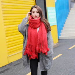 warming scarf Canada - Tassel Autumn Winter New Korean Version Of Pure Color Imitation Cashmere Ball Scarf Lengthened And Thickened Winter Warm Potpourri