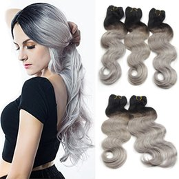 two tone weave hair extensions 2019 - 8A Peruvian Body Straight Ombre Two Tone 1B Grey Unprocessed Virgin Peruvian Hair Black Gray Remy Hair Weaves Human Hair