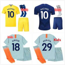 2018-2019 Kids kit Soccer Jersey HAZARD MARCOS ALONSO MORATA Kids Kit GIROUD  KOVACIC Children Football Uniform PEDRO Youth Soccer Sets a97e593bb