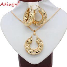 645e43d582b2 Adixyn Plus Pendientes de gran tamaño   Colgante   Collar Conjuntos de joyas  para mujeres Color oro rosa Etiopía   India Joyería de boda N05248