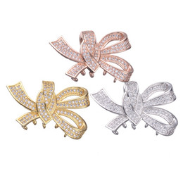 Micro Pave Connectors Australia - Wholesale Handmade DIY Jewelry Accessories Micro Pave Clear Zircon Charms Pendants Rhinestone Knot Connectors Findings Components Fittings
