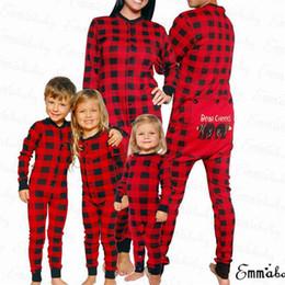 92bec81b5f Christmas Parent-child Sleep Jumpsuit Xmas Family Matching Pajamas Set Bear  Red Plaid Long Sleeve Adult Women Kid Baby Sleepwear