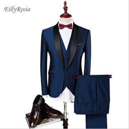 $enCountryForm.capitalKeyWord NZ - Designer Men Suits Wedding Suits Slim Fit For Men Shawl Collar 3 Pieces Burgundy Suit Mens Royal Blue Tuxedo Jacket Groom Wedding Dress