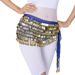 Discount chain costume sexy - Women's Sexy Chiffon Five-layer Indian Dance Belly Costume Hip Hanging Coin Dance Sequins Waist Chain Chiffon Skirt