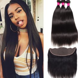 Cambodian loose Curly hair online shopping - 8A Brazilian Virgin Human Hair Bundles With X4 Lace Closure Peruvian Malaysian Indian Cambodian Straight Body Loose Deep Wave Curly Hair
