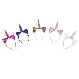 Hair Horns UK - Unicorn Horn giltter Headband Sequin Bunny Ears Hair Band Mesh Bowknot Headband for Kids Unicorn Birthday Party Decoration